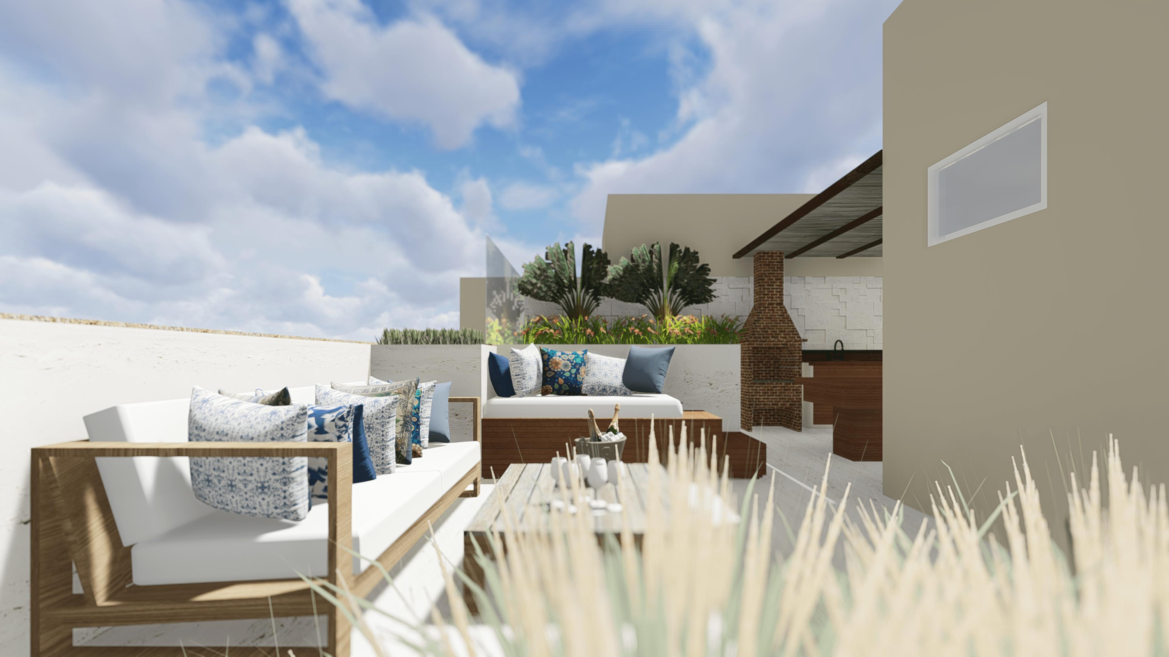 projeto arquitetura area de lazer com piscina e churrasqueira