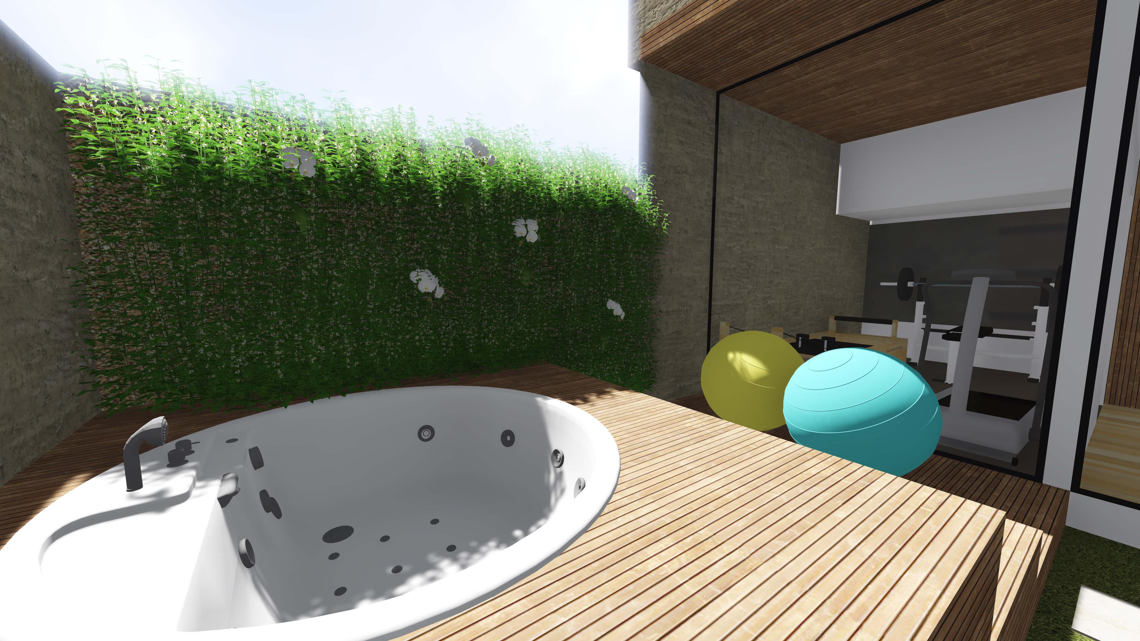 #28A3A3 Projeto de Casa – Area externa com piscina 3840x2160 px Projetos De Cozinha Externa_5445 Imagens