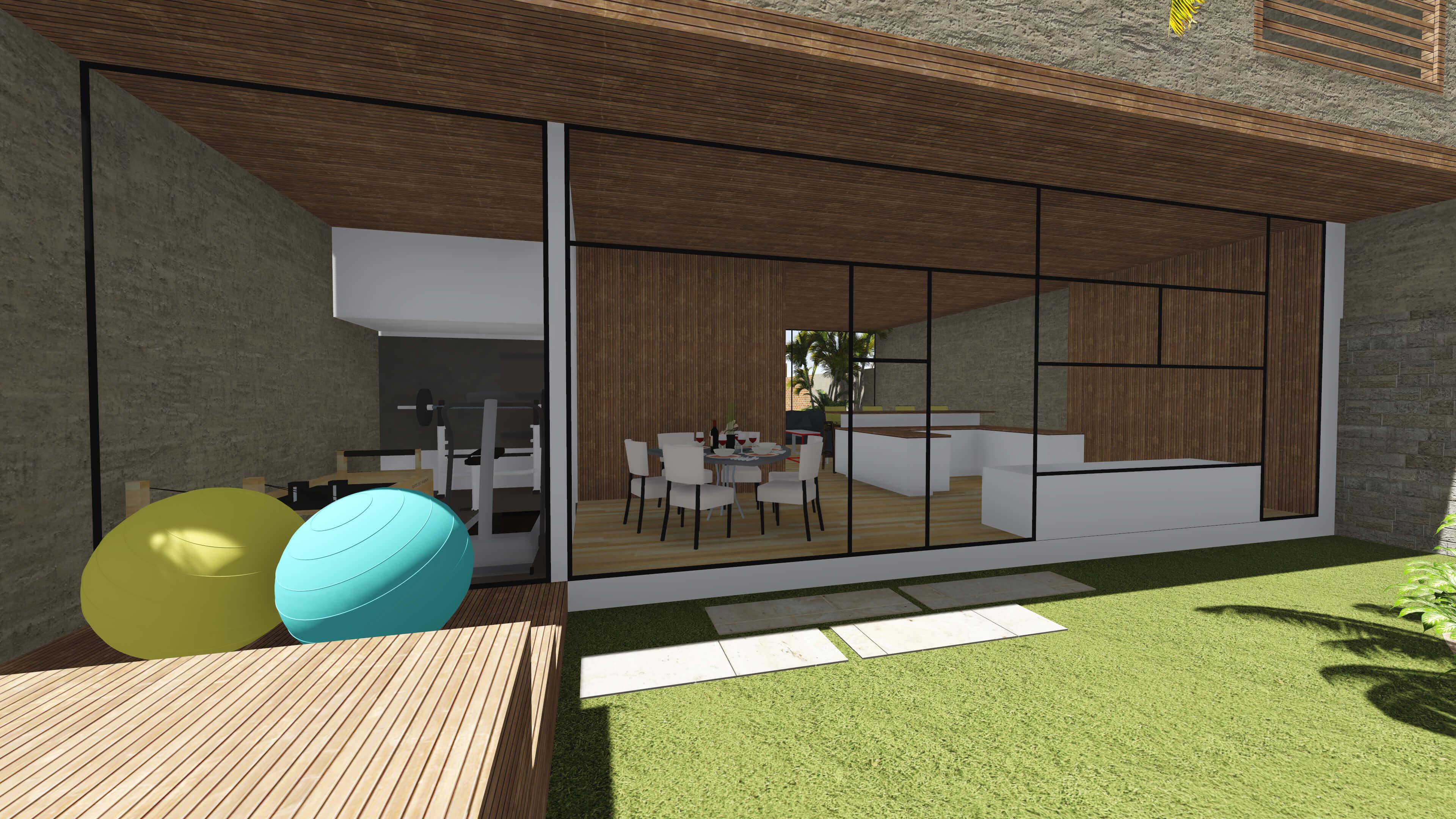 sala de jantar com cozinha americana tem vista para o jardim do  #23A7A8 3840 2160